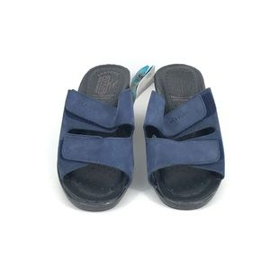 Fly Flot Women's Slip on Sandals 37 Navy Leather